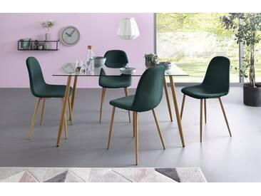 Essgruppe, Eckiger Glastisch mit 4 Stühlen (Webstoff), grün, Tisch 140 cm, Webstoff dunkelgrün