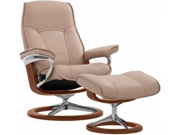 Stressless® Set: Relaxsessel mit Hocker »Senator« mit Signature Base, Größe L, mit Schlaffunktion, natur, Fuß braun, sand