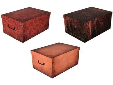 Kreher KREHER Aufbewahrungsbox »Leather«, 3er-Set, bunt, beige/rot/braun