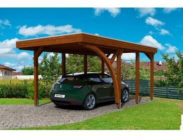 Skanholz SKANHOLZ Set: Einzelcarport »Friesland 5«, BxT: 314x555 cm, nussbaum, braun, 469 cm, braun