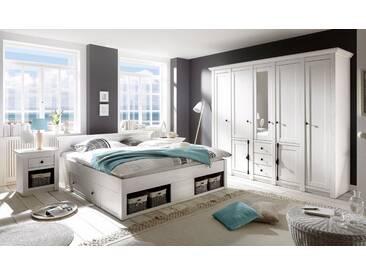 Home affaire Schlafzimmer-Set «California» groß: Bett 180 cm, 2 Nachttische, 5-trg Kleiderschrank, weiß, pinienfarben/weiß