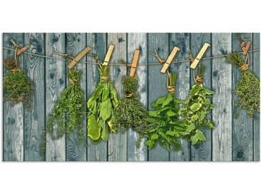 Artland Küchenrückwände »Team 5: Kräuter mit Holzoptik«, grün, 55x110 cm, Grün