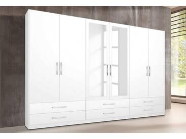 rauch PACK´S Kleiderschrank »Hersbruck«, weiß, Breite 270 cm, 6-türig, ohne Aufbauservice, ohne Aufbauservice, 2 Spiegel, weiß