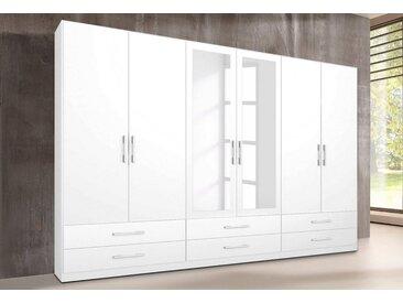 rauch Kleiderschrank »Hersbruck«, weiß, Türen: 6 - mit 2 Spiegeln, weiß