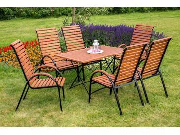 MERXX Gartenmöbelset »Schloßgarten«, 7tlg., 6 Sessel, Tisch, stapelbar, klappbar, Eukalyptus, natur, natur