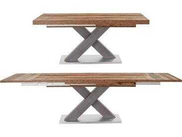 Esstisch »Komfort C«, mit X-Gestell in graphit und mit Auszugsfunktion, Breite 160-260 cm, natur, plankeneiche