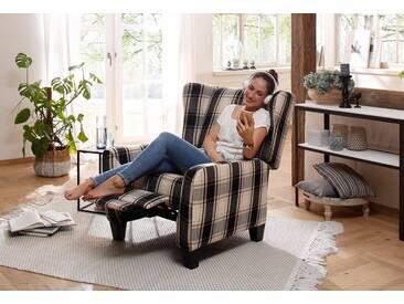Home affaire Relax-/Ohrensessel »Alessa« mit verstellbarer Rückenlehne und ausfahrbarer Fußstütze, schwarz, schwarz-beige