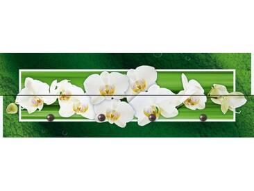 Artland Wandgarderobe »W. L.: Orchideen - grün«, grün, 30 x 90 x 2,8 cm, Grün
