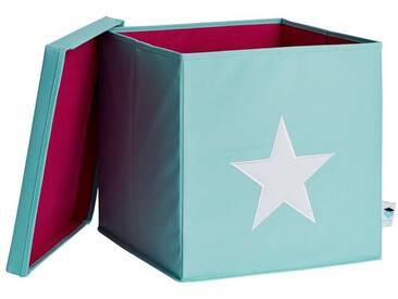 STORE IT! Ordnungsbox mit Deckel (MDF), mint mit weißem stern, grün, mint