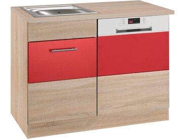 HELD MÖBEL »Perth« Spülenschrank , Breite 110 cm, mit Tür/Sockel für Geschirrspüler, rot, rot-eichefarben/eichefarben