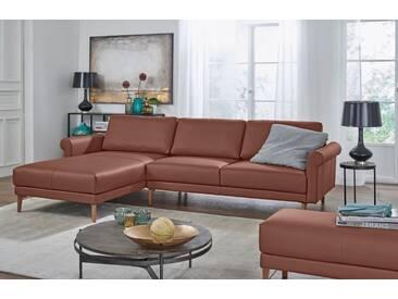 Hülsta Sofa hülsta sofa Polsterecke »hs.450« im modernen Landhausstil, Breite 262 cm, braun, Recamiere links, signalbraun
