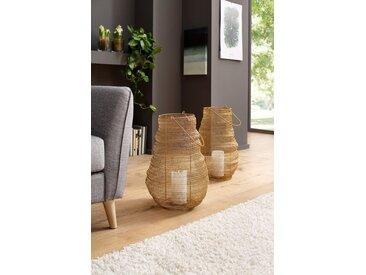 AM Design Laterne gehäkelt, in 2 Größen und Farben, goldfarben, groß, 33x33x52 cm, goldfarben
