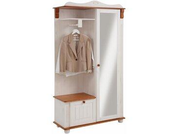 Home affaire Kompaktgarderobe »Adele« aus massiver Kiefer, weiß, lackiert, weiß-kirschbaumfarben