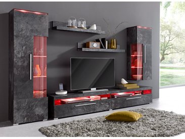 TRENDMANUFAKTUR Wohnwand, schwarz, schieferfarben