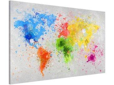Bilderwelten Magnettafel Memoboard Querformat 2:3 »Bunte Farbspritzer Weltkarte«, bunt, 40x60 cm, Farbig