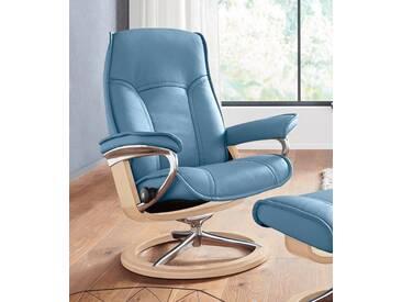 Stressless® Relaxsessel »Senator« mit Signature Base, Größe S, mit Schlaffunktion, blau, Fuß naturfarben, sparrow blue
