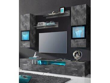 TRENDMANUFAKTUR Wohnwand, (Set, 5-tlg), grau, schieferfarben/schwarz