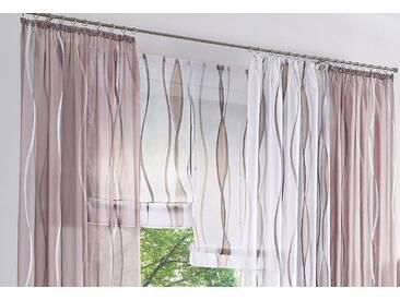 my home Raffrollo »Dimona«, mit Schlaufen, weiß, Schlaufen, transparent, weiß-taupe