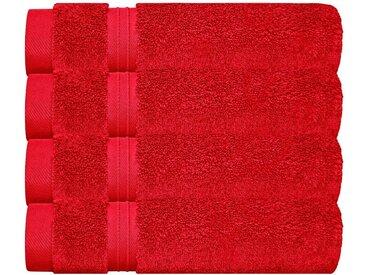Lashuma Handtuch Set »Linz«, Gästehandtücher 30x50 cm, 4x Frottee Handtücher für Bad - Küche, rot, blutrot