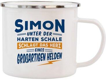 HTI-Living Echter Kerl Emaille Becher »Simon«, weiß, Weiss