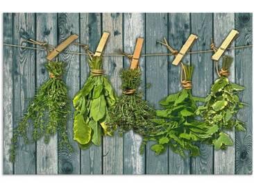 Artland Küchenrückwände »Team 5: Kräuter mit Holzoptik«, grün, 65x100 cm, Grün