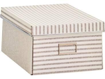 Zeller Present Zeller Aufbewahrungsbox »Stripes«, Pappe, beige, natur, Maße(B/T/H):(25/36/15)(B/T/H):(25/36/15), natur