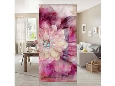 Bilderwelten Raumteiler 250x120cm »Grunge Flower«, rosa, transparente Halterung, Pink