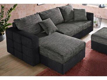 sit&more Ecksofa, inklusive Bettfunktion und Bettkasten, grau, 233 cm, Recamiere beidseitig montierbar, schwarz/anthrazit