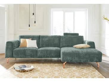 Guido Maria Kretschmer Home&Living GMK Home & Living Polsterecke »Logge«, grün, Recamiere rechts, mit Messingfüßen, mint