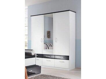 Kleiderschrank, weiß, Türen: 3, weiß/schwarz