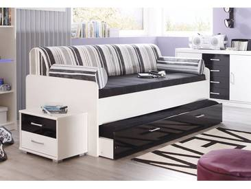 Bett, Made In Germany, Schwarz, Weiß/schwarz