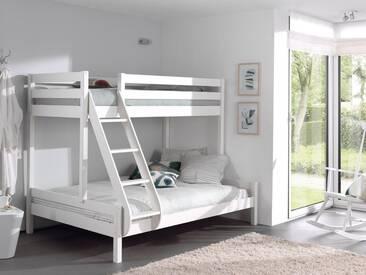 Vipack Furniture Etagenbett, mit Rolllattenrost, weiß, Liegefläche 90x200 & 140x200 cm, Kiefer massiv weiß lackiert