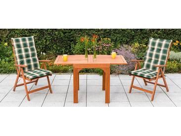 MERXX Gartenmöbelset »Vitoria«, 5-tlg., 2 Klappsessel, Tisch, Eukalyptus, ausziehbar, braun, braun