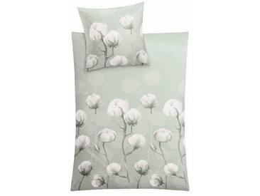 Kleine Wolke Bettwäsche »Cotton«, mit Blumen, grün, 1x 135x200 cm, Mako-Satin, grün