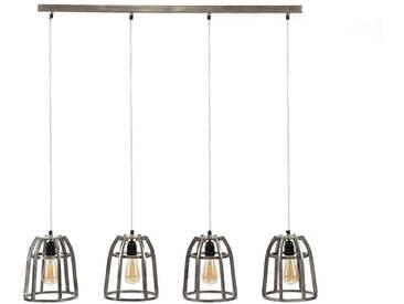 SalesFever Hängeleuchte 4 ovale Lampenschirme aus Stahldraht »Lennox«, schwarz, schwarz-nickel