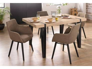 Essgruppe »Sanchez und Bradford«, 5-teilig mit Tisch, Breite 150 cm, braun, ohne Aufbauservice, eichefarben sägerau/Cappucino
