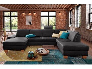 exxpo - sofa fashion Wohnlandschaft, schwarz, 324 cm, Ottomane rechts, schwarz