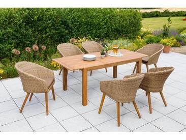 MERXX Gartenmöbelset »Arrone«, 13-tlg., 6 Sessel, Tisch ausziehbar, Polyrattan/Akazie, braun, braun