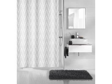 Kleine Wolke KLEINE WOLKE Duschvorhang »Zigzag«, Breite 180 cm, grau, grau/weiß