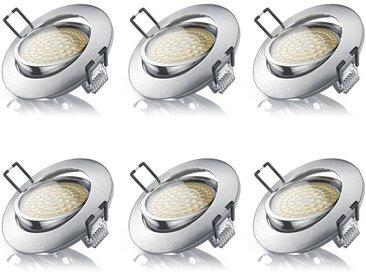 Brandson 6x LED Deckenspot mit Aluminium Druckgussrahmen »Einbaustrahler / Warmweiß / schwenkbar«, silberfarben, Chrom gebürstet