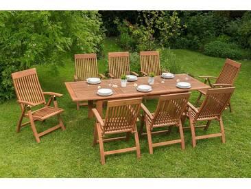 MERXX Gartenmöbelset »Commodoro«, 9tlg., 8 Sessel, Tisch, ausziehbar, klappbar, Eukalyptus, natur, natur