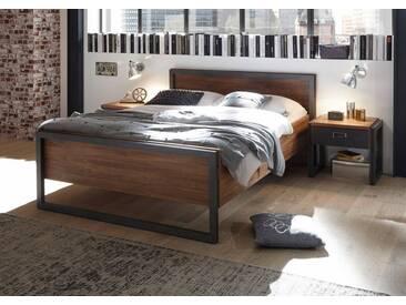 Home affaire Bett »Detroit«, in 3, Breiten, in angesagtem Industrial Look, braun, ohne Matratze kein Härtegrad, braun, schieferfarben