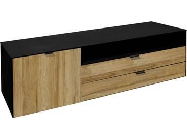 Mäusbacher Lowboard »Dallas«, Breite 177 cm, schwarz, schwarzstahlfarben/wildeichefarben