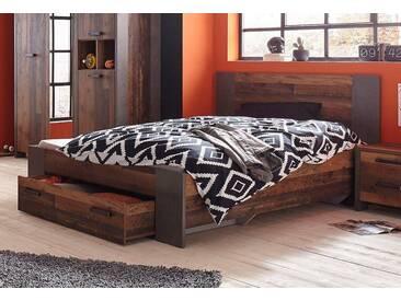 FORTE Bett »Clif«, grau, 140x200 cm, Betonoptik dunkelgrau/old vintage wood