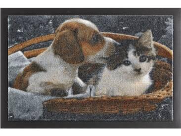 HANSE Home Fußmatte »Animals 2«, rechteckig, Höhe 7 mm, rutschhemmend beschichtet, braun, 7 mm, braun-weiß