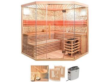 HOME DELUXE Set: Sauna »Skyline XL BIG«, B/T/H: 200/200/210 cm, 50 mm, 8-KW-Ofen mit int. Steuerung, natur, 8-kW-Ofen mit integrierter Steuerung