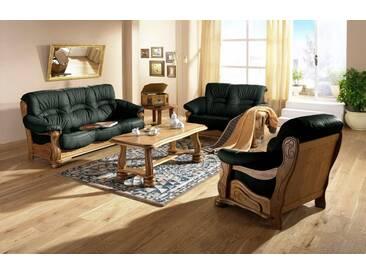 Max Winzer® Polstergarnitur »Texas«, mit dekorativem Holzgestell, 2-tlg., grün, dunkelgrün