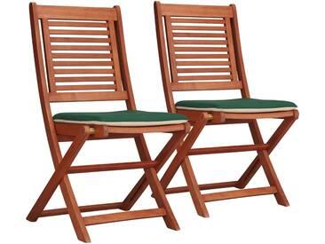 MERXX Gartenstuhl »Cordoba«, (2er Set), Eukalyptus, klappbar, braun, inkl. Wendeauflage, braun, 2 Stühle, braun