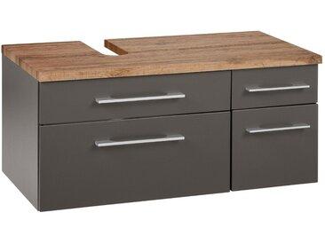 HELD MÖBEL Held Möbel Waschbeckenunterschrank »Davos«, Breite 90 cm, grau, Siphonausschnitt links, grafit/grau