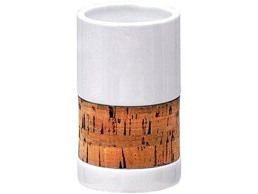 RIDDER Zahnputzbecher »Corky«, Keramik und Kork, weiß, weiß/naturbelassen